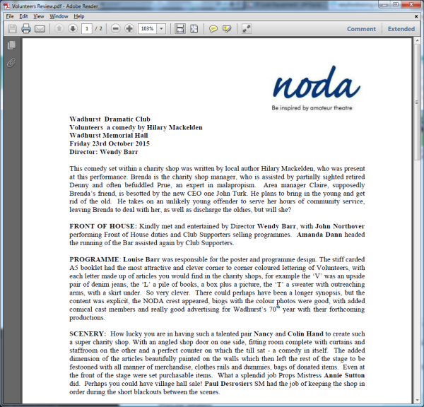 Volunteers - NODA Review